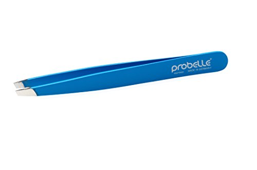 Probelle Full Size Slant Stainless Steel Tweezer, Brow Tweezer, and Hand Made Tweezer, Blue