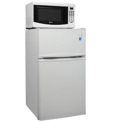 Energy Star White Refrigerator and Microwave Combo