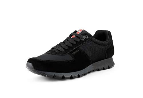 Suede Prada Sneakers - Prada Men's Racer Suede with Nylon Sneakers, Nero (Black) 4E2700 (9 US / 8 UK)