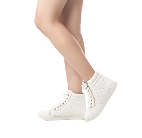 Lace Women's Sneakers Zipper High Quilted Leatherette Shoes Top White Soho Up 56wqXpW4