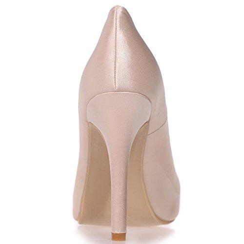 Loslandifen Womens Tacco Raso Pompe Slip On Stiletto Tacchi Alti Scarpe Da Sposa Champagne
