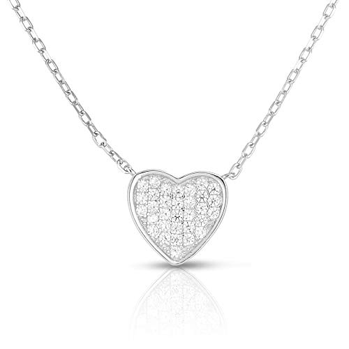 Unique Royal Jewelry 925 Sterling Silver Pave Clustered Cubic Zirconia Heart Pendant and Necklace Adjustable to Length of 16