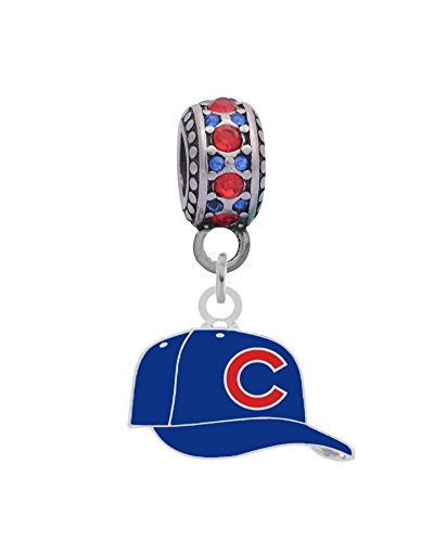Chicago Cubs Ball Cap Charm Fits Most Bracelet Lines Including Pandora, Chamilia, Troll, Biagi, Zable, Kera, Personality, Reflections, Silverado and More ...