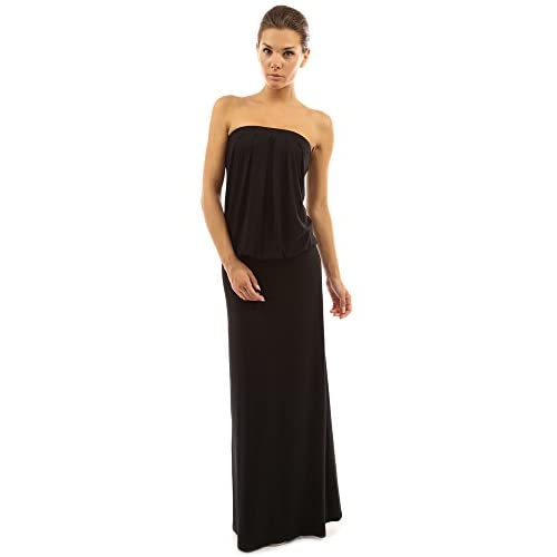 Strapless blouson maxi dress