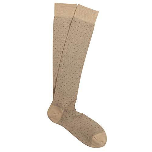 Marcoliani Milano Mens Over The Calf Micro Slash Pima Cotton Socks, Beige, One Size Fits Most