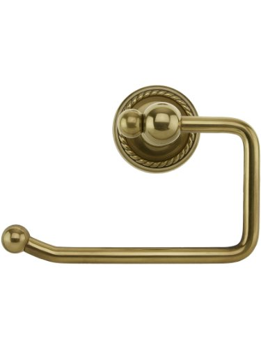 Brass Swinging Paper Holder with Rope Rosette in Antique Brass ()