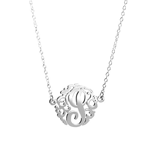 Sterling Silver Single Initial Monogram Necklace (Small(15mm)/ I)