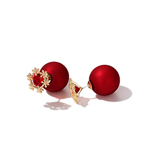 (Lan Chen New Year's Frosted Snowflake Red Ball Earrings Female Double-Sided Earrings Small Small Big Earrings Temperament 2018 Red Earrings Christmas)