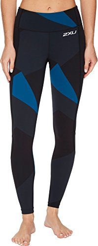 2XU Womens Fitness Compression Tights W/Storage, Black/Dark Charcoal Jagged Block, X-Small by 2XU