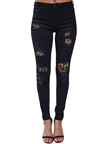 Aleumdr Fashion Leopard Print Patch Jeans for Women Destroyed Ankle Length Skinny Jeans Size S Black