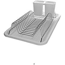 Chrome Metal & White Plastic Kitchen Dish Drying Rack with Removable Cutlery Holder