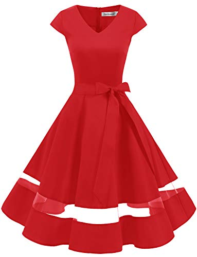 Gardenwed Women's 1950s Rockabilly Cocktail Party Dress Retro Vintage Swing Dress Cap-Sleeve V Neck Red XS