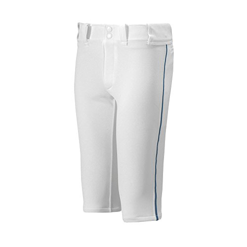 Mizuno Youth Premier Piped Short Baseball Pant, White-Navy, Youth X-Large