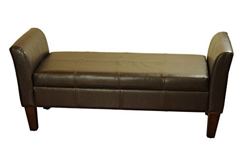 Kinfine Faux Leather Arm Storage Bench, Brown