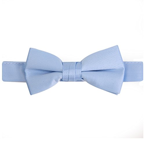 (Hold'Em Bow Tie For Mens Boys and Baby Satin look Solid Color Adjustable Pre-tied Made in USA - Kids Light Blue)