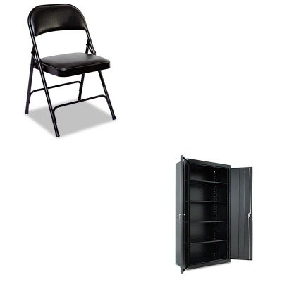KITALECM7218BKALEFC96B - Value Kit - Best Assembled 72amp;quot; High Storage Cabinet (ALECM7218BK) and Best Steel Folding Chair With Padded Back/Seat (ALEFC96B) by Best