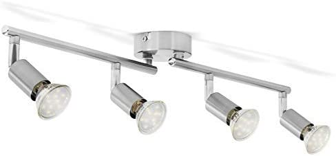 Faretti LED da soffitto orientabili I plafoniera moderna da soffitto per l'illuminazione da interno I luce calda I corpo metallo, color nickel opaco I include 4 lampadine da 3W GU10 230V IP20