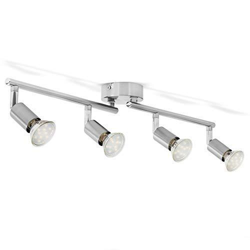 B.K.Licht – Lámpara de techo con 4 focos LED GU10, focos ajustables y giratorios para interiores, de luz blanca cálida…