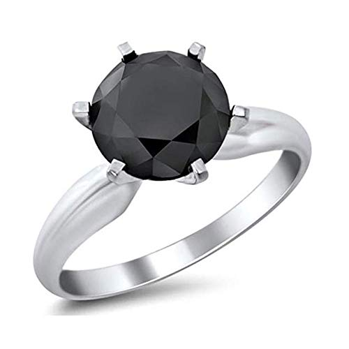 - skyjewels 4.25 Ct Certified Round Black Diamond Solitaire Ring in Sterling Silver AAA Quality