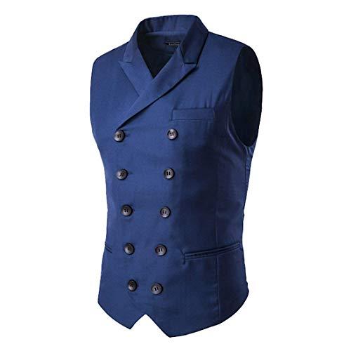 Sin V Ropa Cómodos Tamaños Fashion Doble Cuello Chaqueta Chaleco Para Navy Hx Blau Mangas En Con Botonadura Hombre Z0EwP08xq