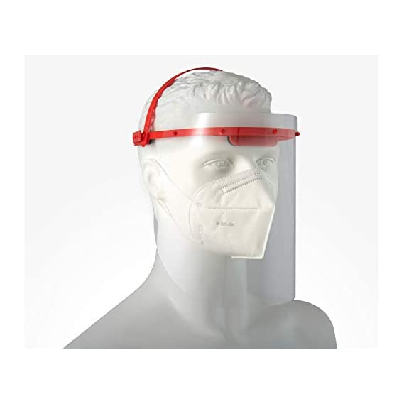 Mediweave Premium Protective Reusable Safety Face Shield, Visor with 2 sided Peel Off Layer, (Combo - 1 Headgear +3