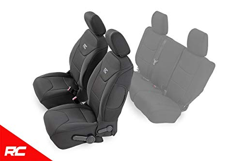 Rough Country Neoprene Seat Covers Front Black Compatible w/ 2013-2018 Jeep Wrangler JK 4DR Custom Fit ()