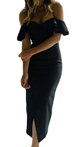 Spalla Fuori Coolred Linea Vestito Sexy Una Tagliato Midi donne Balze Nero Spaccatura C4qwwR