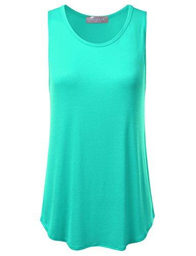 FLORIA Womens Basic Flowy Loose Fit Ultra Lightweight Soft Knit Sheer Tank Top Mint M