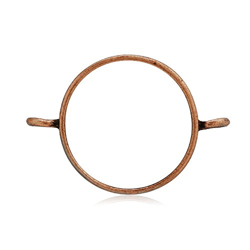 10PCS 25mm Round Open Back Bezel Pendant, Open Back for Resin, Polymer, etc. Open Back Frame with 2 Loops, Antique Copper