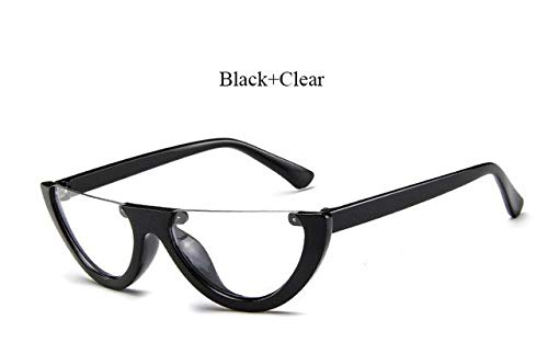 8a182b17f Image Unavailable. Image not available for. Colour: Hectare Buy YF312 Black  Clear: 2018 New half Women Brand Designer Clear Flat Top Sunglasses