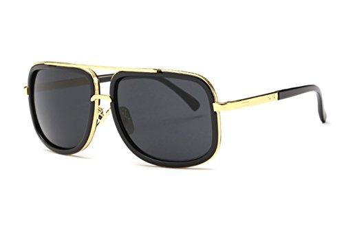 Jauxin Classic Metal Frame Flat Top Aviator Sunglasses for Men C3