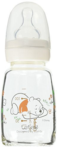 teteo Winnie the Pooh Heat-Resistant Glass Feeding Bottle 100 ml, S Size