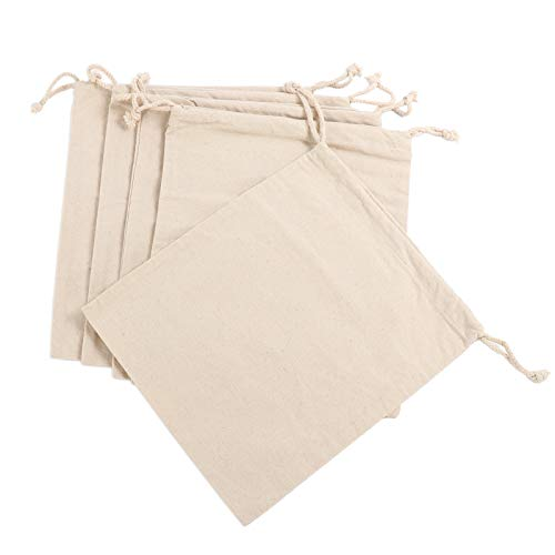 Bread Bags - 5 Pack Large Size - Ideal for Homemade Bread, Reusable Food Storage, Housewarming, Wedding Gift, Storage for Artisan Bread - Bakery & Baguette Bag (Cotton and Linen, 11.8