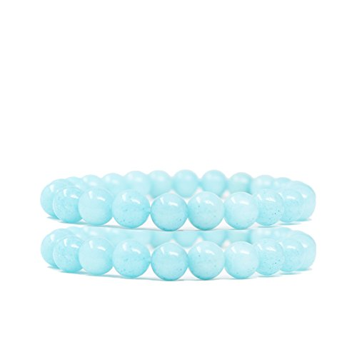 (FELICIS JEWELRY Natural Semi Precious Gem Stone Beaded Bracelet, Chakra Stones Healing Crystal Bead Stretch Bracelets for Women Girls, Blue Aquamarine Bracelet, 8mm Round Beads, 6.5