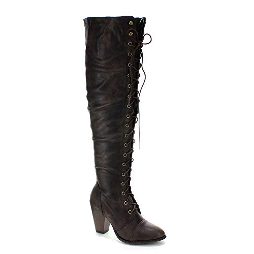 Forever Camila-48 Womens Chunky Heel Lace Up Over The Knee High Riding Boots,9 B(M) US,Brown 15 (Over Boots Knee High)