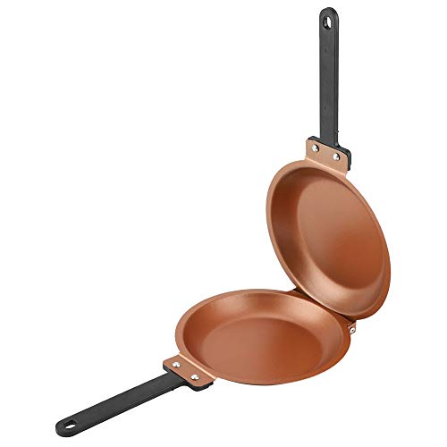 Double Side Frying Pan Non-stick Flip Folding Frying Pan Fried Egg Pancake Maker for Household Kitchen Cookware ()