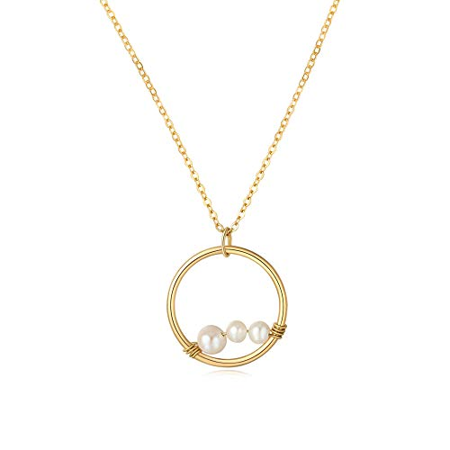 14 Pods Count - SEAYII Women 3 Generations Necklace Gold Karma Open Circle Pendant 3 Pearl Peas in A Pod Dainty Chain 14K Gold Fill Boho Beach Simple Delicate Handmade Gold Jewelry Gift