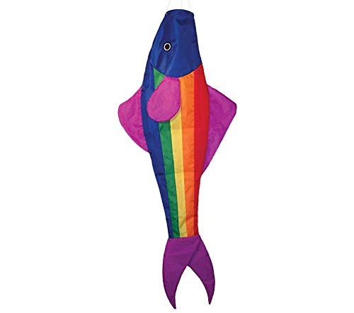 (Premium Rainbow Fishy Trout 48 Inch Windsock - Fun Fish Hanging Decoration - UV Resistant Material for Long Lasting Bright Colors)