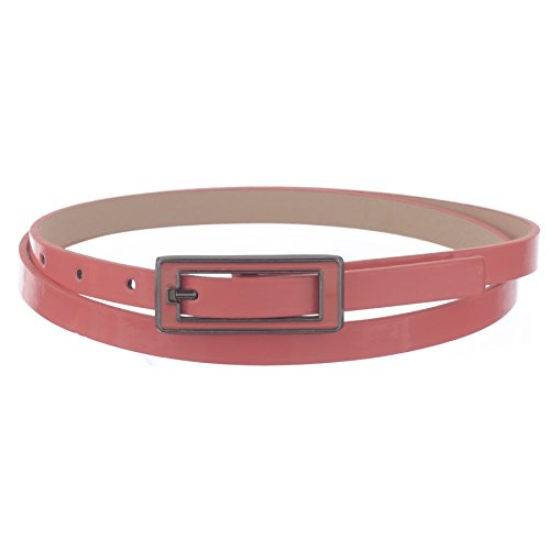 - X-CESSOIRE Womens Skinny Leather Belt with Matching Square Belt Buckle - Solid Color PU Leather Belts (X-Large, Coral)