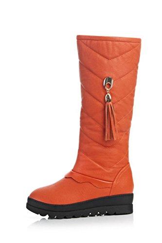 Allhqfashion Donna Materiali In Misto Tacco Basso A Punta Tonda Stivali Di Colore Arancione