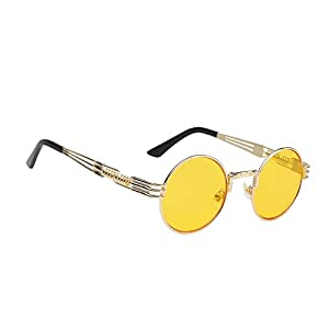 WebDeals - Round Circle Vintage Metal Sunglasses Eyeglasses Bold Design Decorated Frame and Nose Piece (Gold, Yellow)