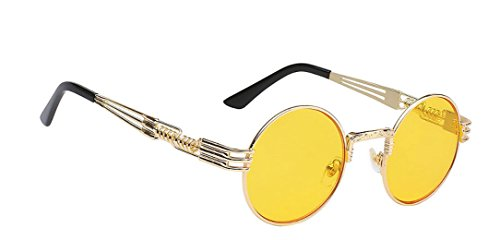 WebDeals - Round Circle Vintage Metal Sunglasses Eyeglasses Bold Design Decorated Frame and Nose Piece (Gold, - Cool Sunglasses Look