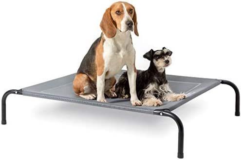 Bedsure Original Elevated Dog Cot Bed – 35/43/49 inches Large Raised Dog Cots for Large Dogs, Portable Indoor & Outdoor Pet Bed with Skid-Resistant Feet, Frame with Breathable Mesh (Grey)