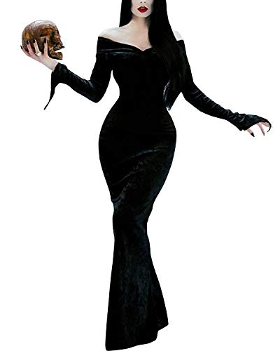 Modern Family Halloween Costumes 2019 (GIKING Sexy Halloween Costumes for Women Morticia Addams Cosplay Costume Adult Dress Black)