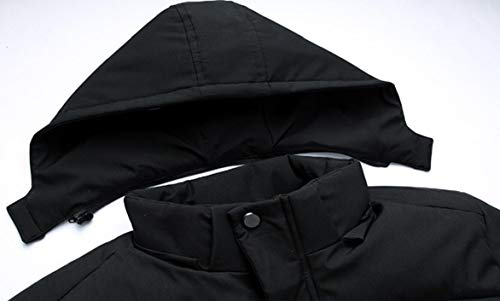Men's Thick Lined Hood Winter Fur Padded Jacket Down security Coat Warm Zipper Faux Black d1wZn6q0