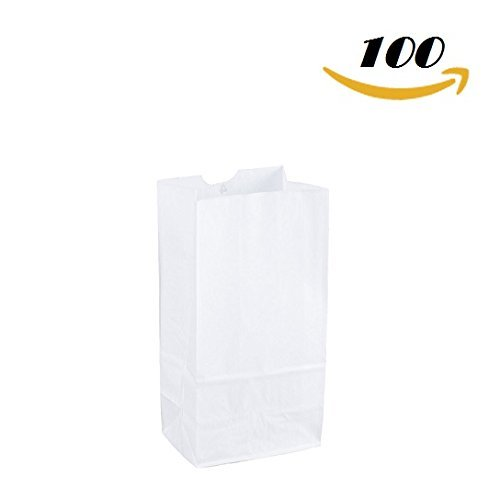 Flat Paper Bags Bottom (Pack of: 100ct Extra Small Paper Bags party favors, Paper Lunch Bags, Grocery Bag, wedding favor bags, kraft bags, paper bags (White, 2 1/8 x 3 1/2 x 6 3/4))