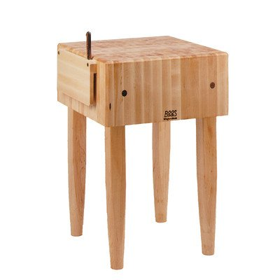 (Pro Chef Prep Table with Butcher Block Top Casters: Included, Size: 30