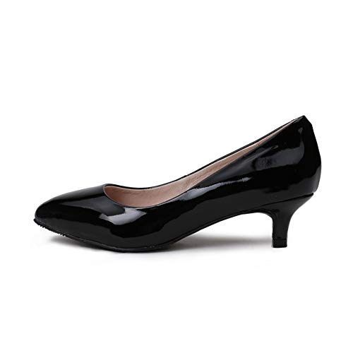 Black High Commuting Pumps Pointed Cozy High Height 3Cm OL Women's Office Single Toe Heel Heel Heeled Slim Closed Shoes 0t66qxwU
