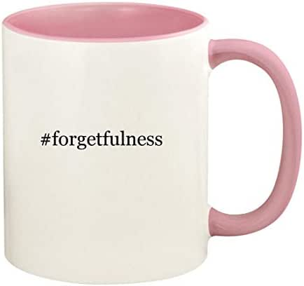 #forgetfulness - 11oz Hashtag Ceramic Colored Handle and Inside Coffee Mug Cup, Pink