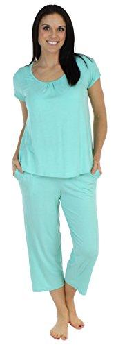 bSoft Women's Sleepwear Bamboo Jersey Short Sleeve Top and Capri Pajama Set, Solid Teal Blue (BSBJ1830-1023-LRG) ()